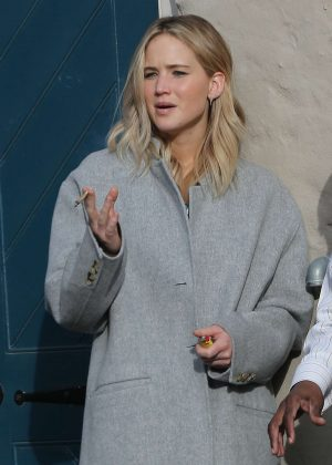 Jennifer Lawrence in Gray Coat at Peche in New Orleans