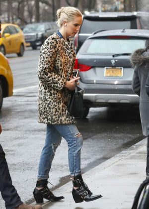 Jennifer Lawrence in Leopard Print Coat Out in New York City