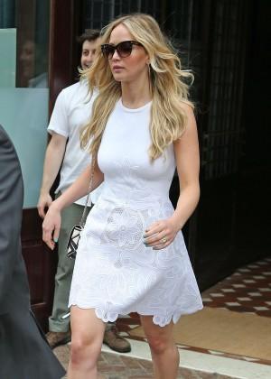 Jennifer Lawrence in Mini Dress Leaving her Hotel in NYC