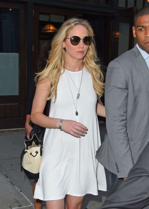 Jennifer Lawrence in White Mini Dress out in NY