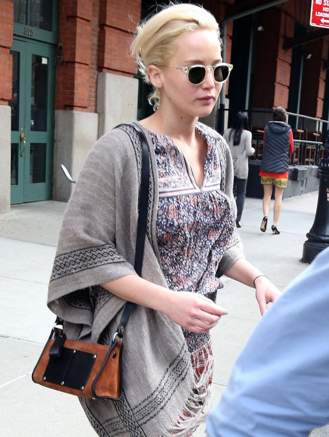 Jennifer Lawrence in Mini Dress out in NYC