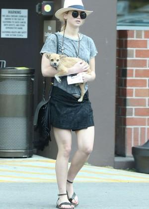 Jennifer Lawrence - Leggy in Mini Skirt Out in Beverly Hills