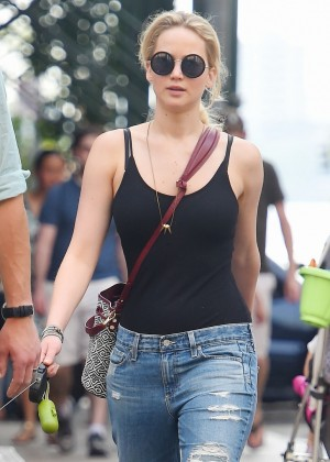 Jennifer Lawrence in Ripped Jeans out in NYC