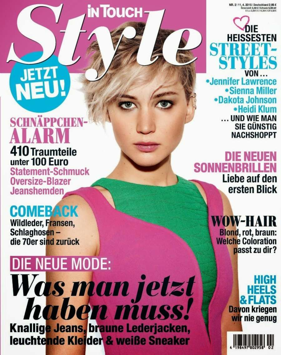 jennifer lawrence in touch style germany cover april 2015. Black Bedroom Furniture Sets. Home Design Ideas