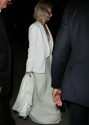 Jennifer Lawrence in White Dress night out in New York