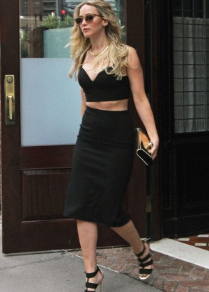 Jennifer Lawrence in Tight Black Skirt out in NYC