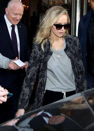 Jennifer Lawrence - Leaving the Claridges Hotel in London