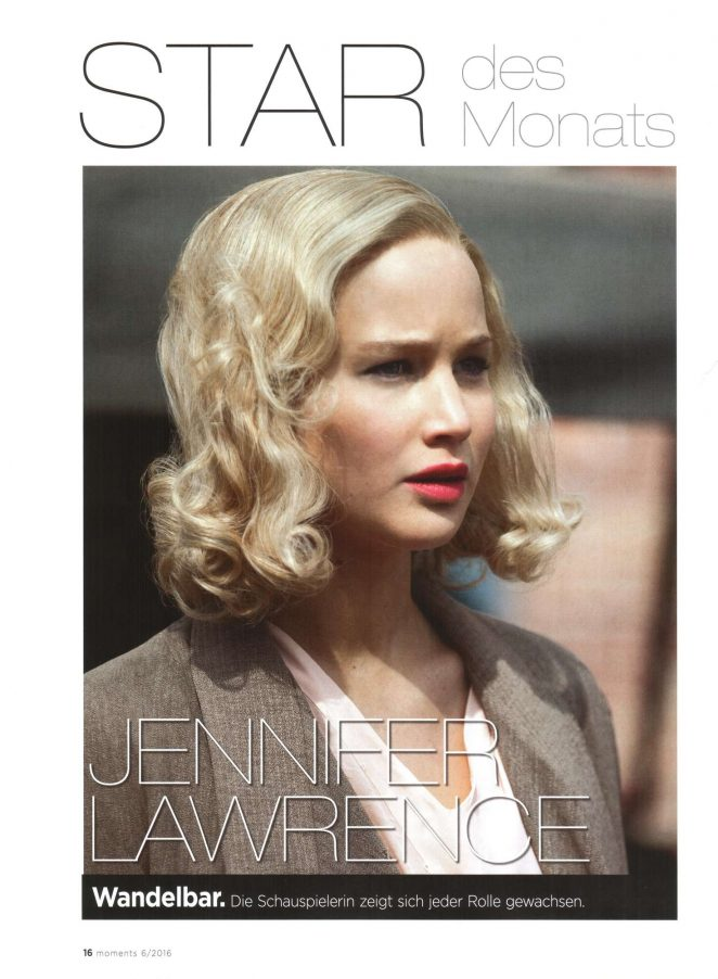 Jennifer Lawrence - Moments Magazine (June 2016)