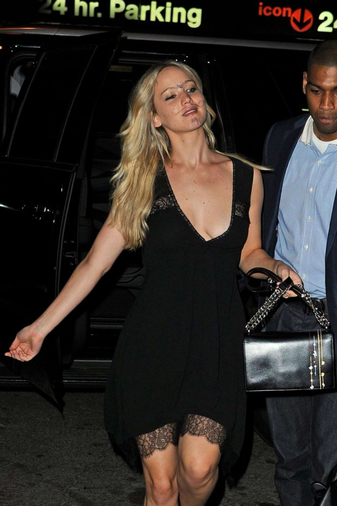 Jennifer Lawrence in Black Mini Dress out in NY