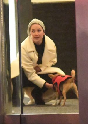 Jennifer Lawrence - Out with her dog Pippi in NYC