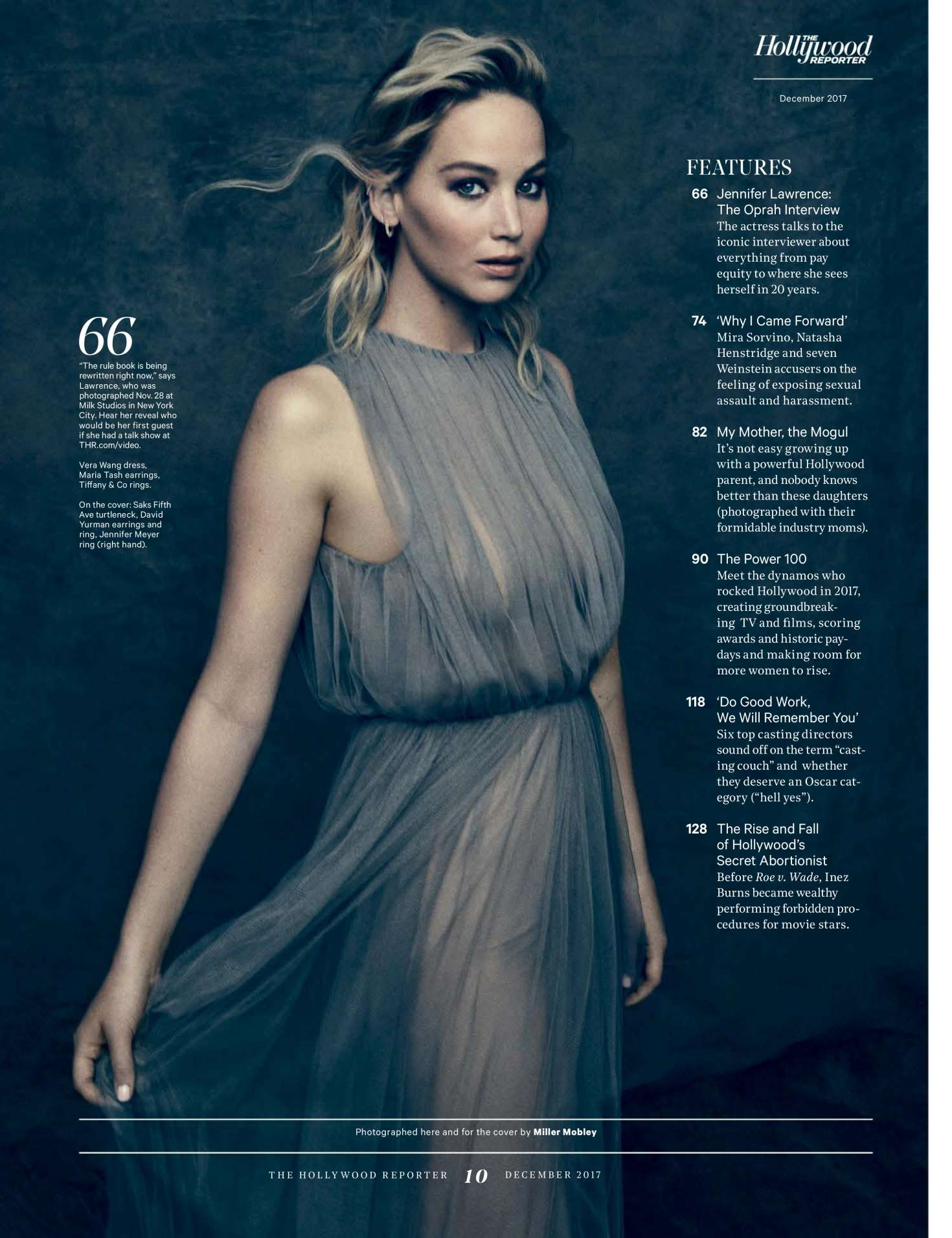 Jennifer Lawrence - The Hollywood Reporter (December 2017)