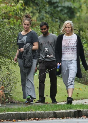 Jennifer Lawrence walking her dog in Atlanta