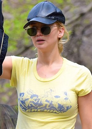 Jennifer Lawrence with her dog at the park in NYC
