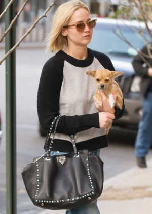 Jennifer Lawrence with Her Dog Pippi Arriving at Hotel in NY