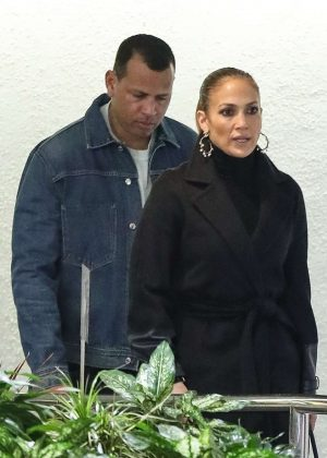 Jennifer Lopez and Alex Rodriguez - Exit a business meeting in Weswood