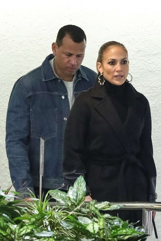 Jennifer Lopez and Alex Rodriguez – Exit a business meeting in Weswood