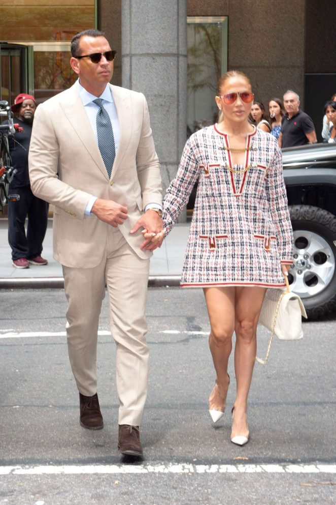 Jennifer Lopez and Alex Rodriguez - Heading to an office building in NYC