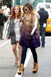 Jennifer Lopez and Madeline Brewer - On set of 'Hustlers' in NYC
