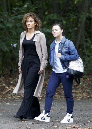 Jennifer Lopez and Sarah Jeffery Filming 'Shades of Blue' set in Prospect Park