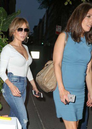 Jennifer Lopez and sister Lynda Lopez Leaving Nello's in New York City
