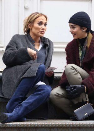 Jennifer Lopez and Vanessa Hudgens - Filming 'Second Act' in New York