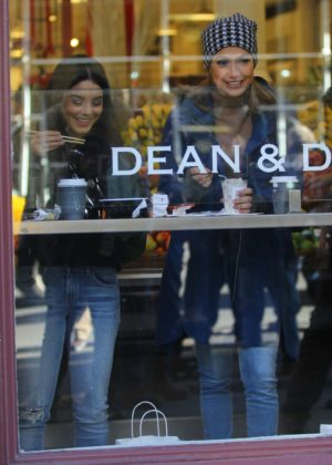 Jennifer Lopez and Vanessa Hudgens - Get coffee on set of filming 'Second Act' in NYC