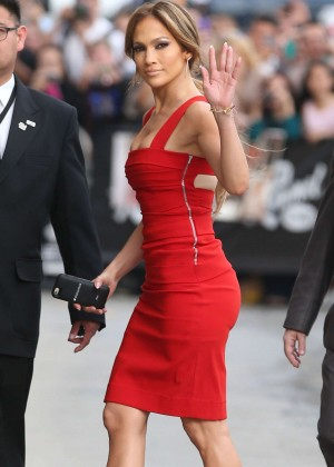 Jennifer Lopez in Red Dress at 'Jimmy Kimmel Live!' in Hollywood