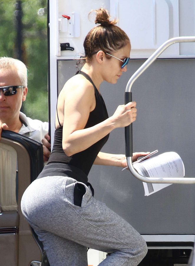 Jennifer Lopez arrives at 'Shades of Blue' Set in NYC