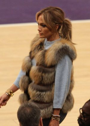 Jennifer Lopez at a Lakers game in Los Angeles