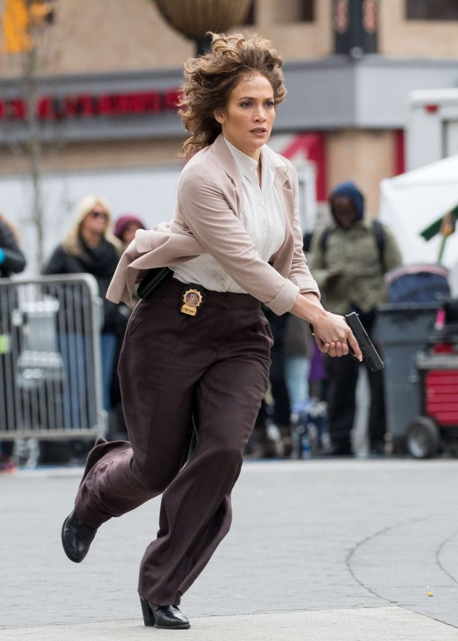 Jennifer Lopez at the movie set of 'Shades of Blue' in New York