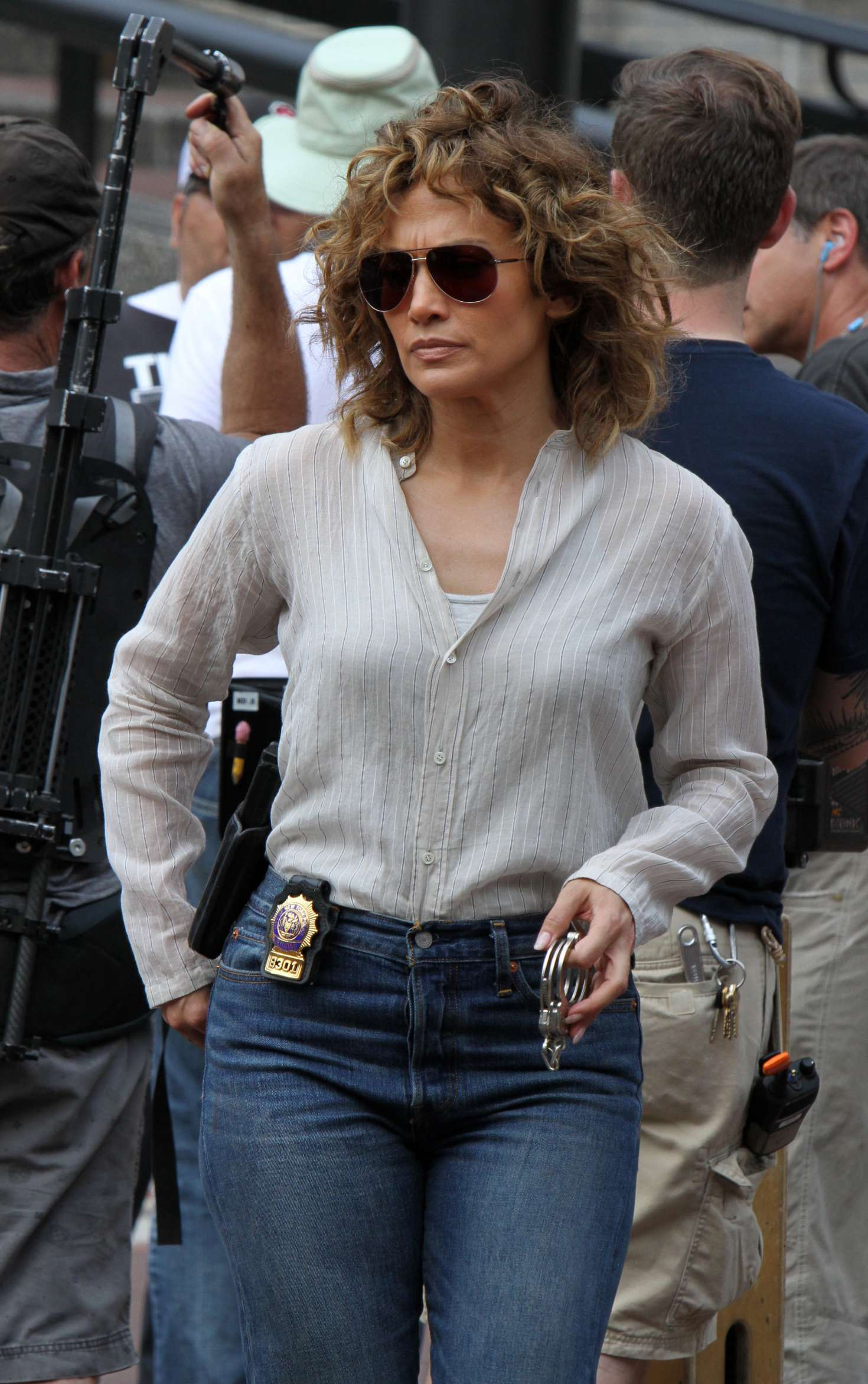 Jennifer Lopez at the 'Shades of Blue' set in Washington Heights