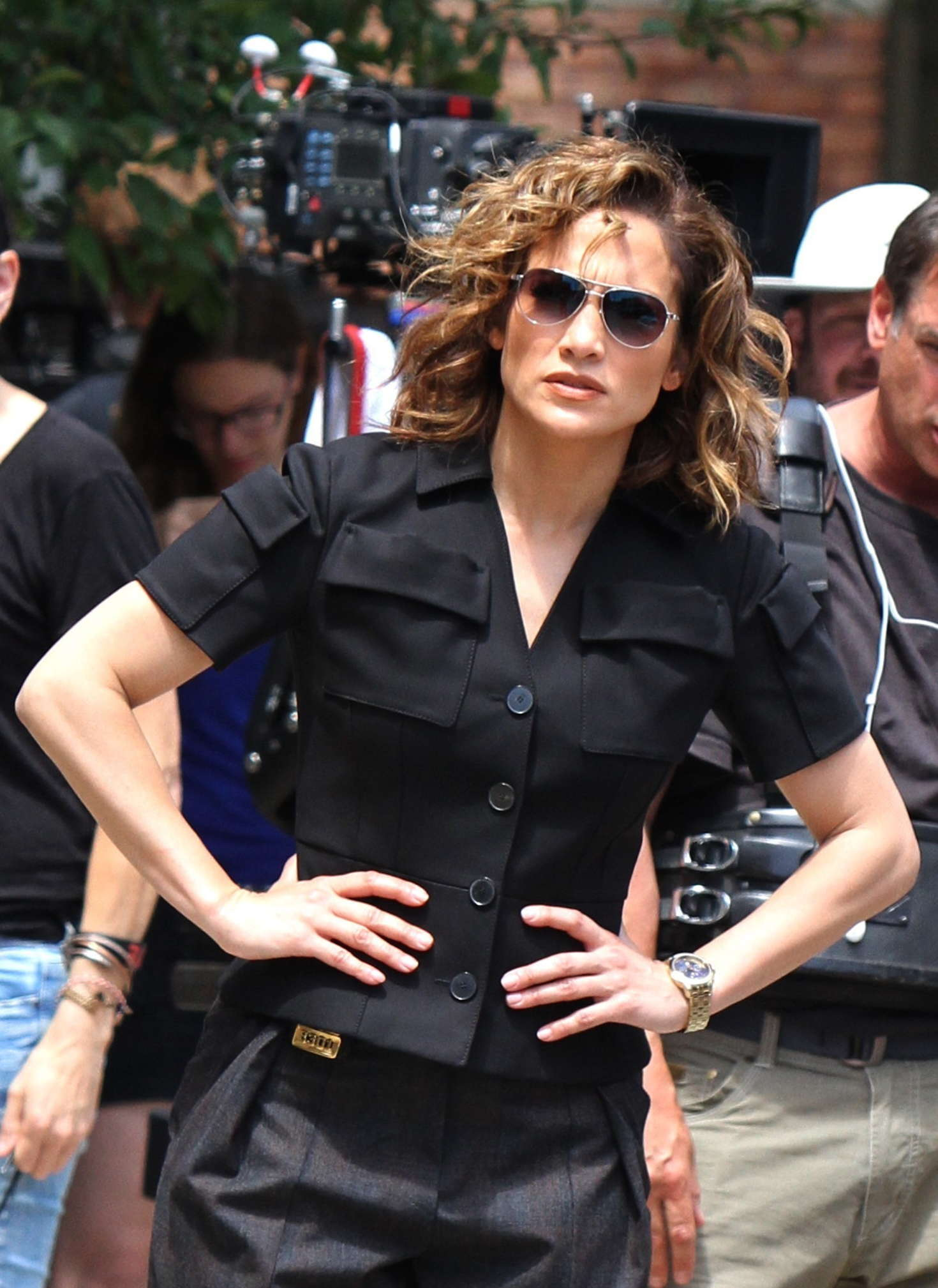 Jennifer Lopez Filming scenes for 'Shades of Blue' in Astoria