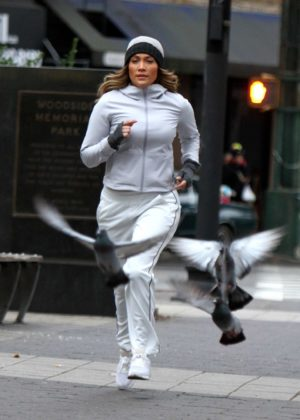Jennifer Lopez - Films a jogging scene on the movie set of 'Second Act' in Queens