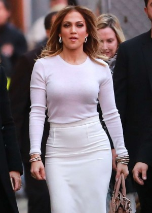 Jennifer Lopez - Hot in Withe Tight Skirt at Jimmy Kimmel Live in Hollywood