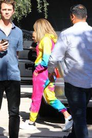 Jennifer Lopez - In a colorful sweatsuit in Los Angeles