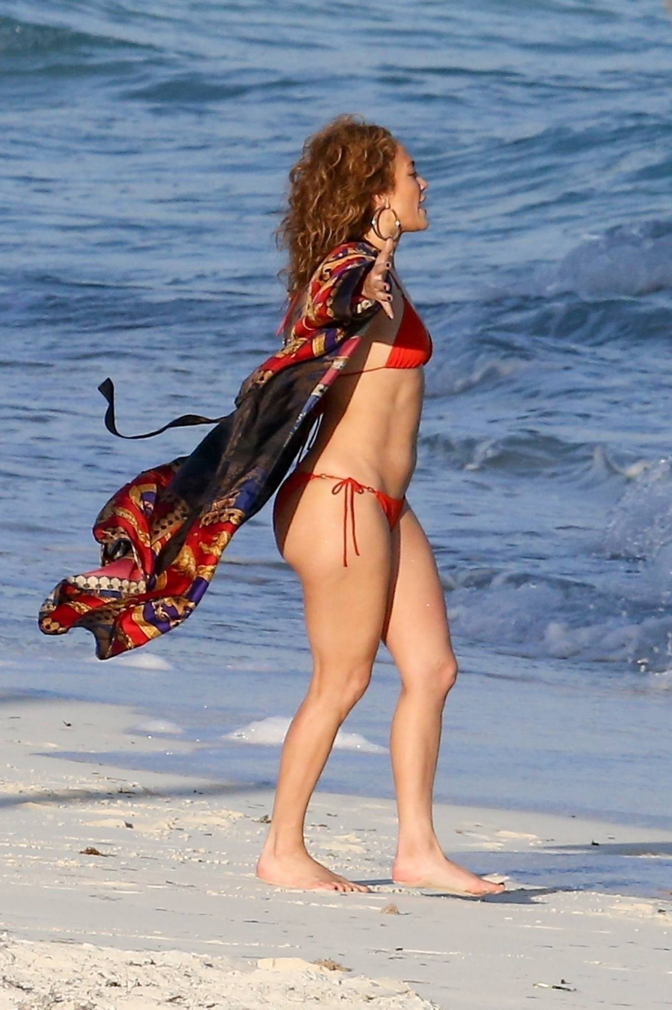 Jennifer Lopez - In a red bikini at a beach in Turks and Caicos