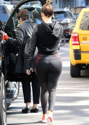 Jennifer Lopez in Black Leggings Shopping in New York City