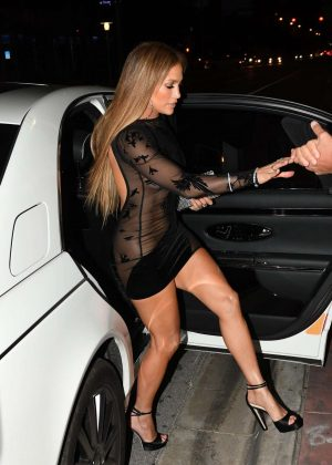 Jennifer Lopez in Black Mini Dress at Her Birthday Party in Miami