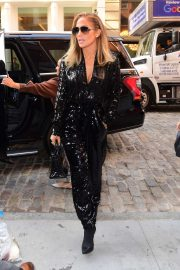 Jennifer Lopez in Black Sequin Jumpsuit in New York City