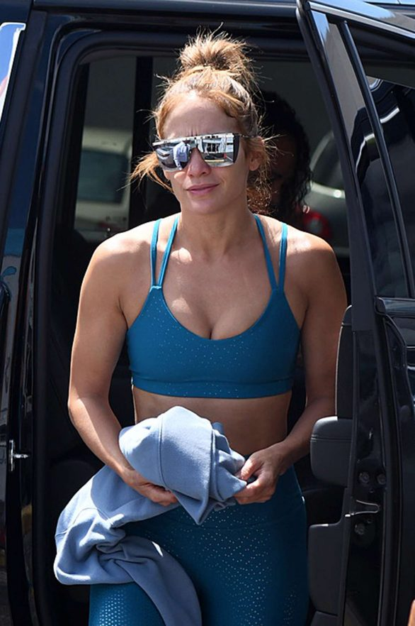 Jennifer Lopez in Blue Gym Outfit - Outside a gym in Miami