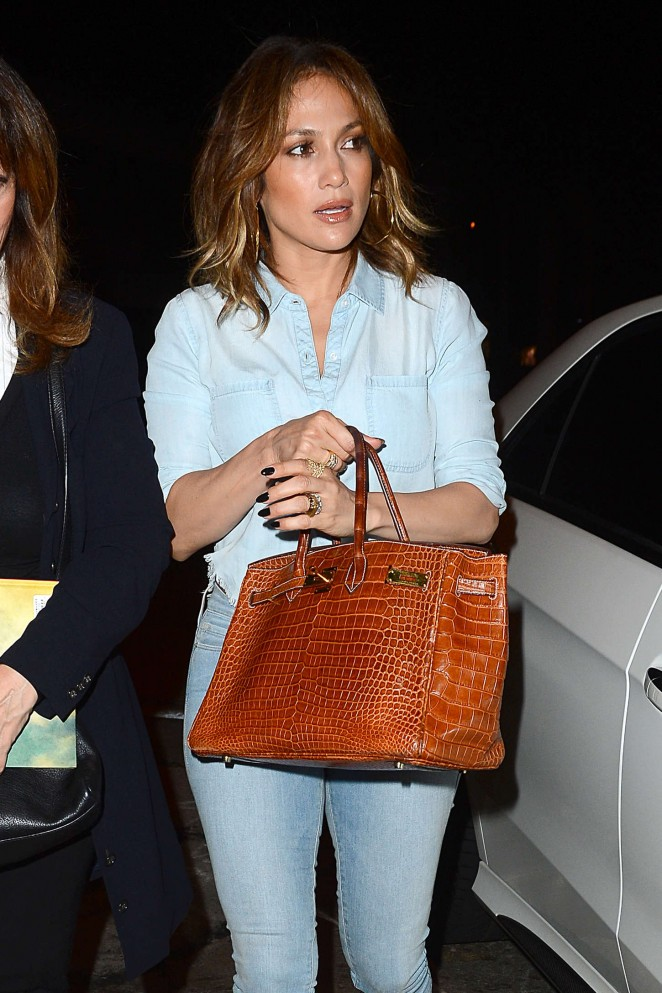 Jennifer Lopez in Jeans at Craigs Restaurant in LA