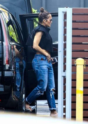Jennifer Lopez in Jeans at recording studio in Miami
