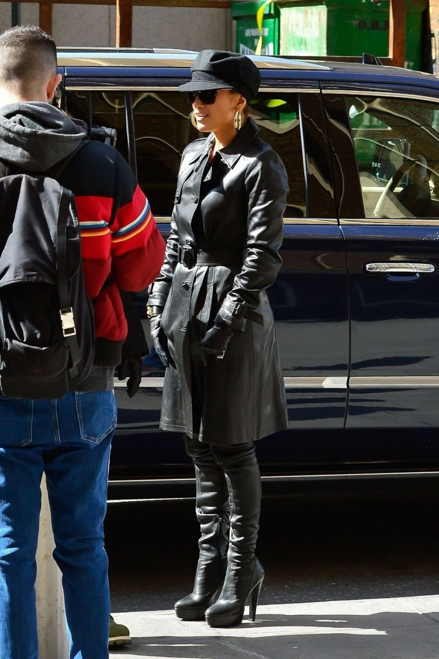 Jennifer Lopez in Leather Coat - Out and about in NYC