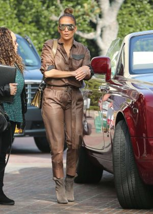 Jennifer Lopez in Leather Jumpsuit - Shopping in Beverly Hills