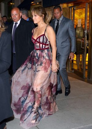 Jennifer Lopez in Long Dress Out for dinner in New York