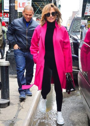 Jennifer Lopez in Pink Coat - Out in New York