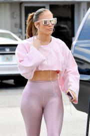 Jennifer Lopez - In pink leggings out in Miami