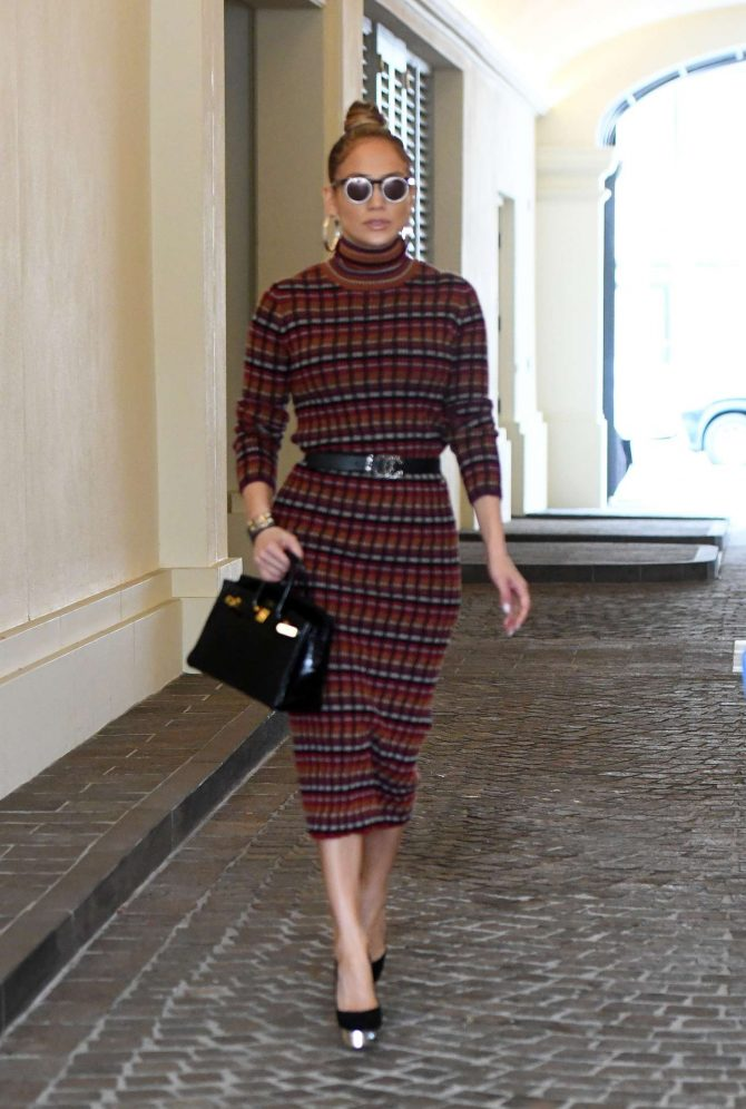Jennifer Lopez in Plaid Dress - Ggoes to business meeting in Miami