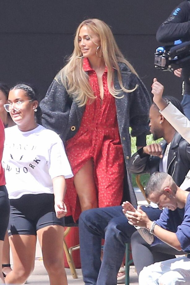 Jennifer Lopez - In red dress filming for Coach after vacationing with Ben Affleck in Miami
