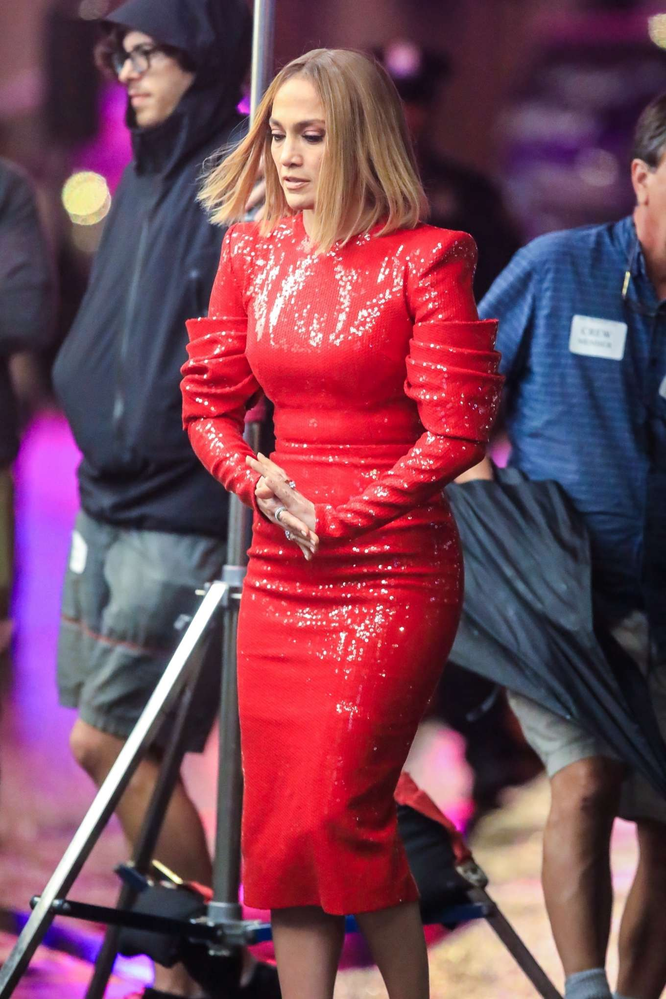 Jennifer Lopez in Red Dress - Filming 'Marry Me' in New York City